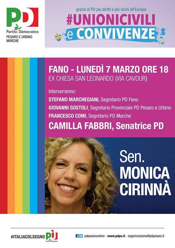 Unioni civili, lunedì a Fano iniziativa del Pd con Monica Cirinnà
