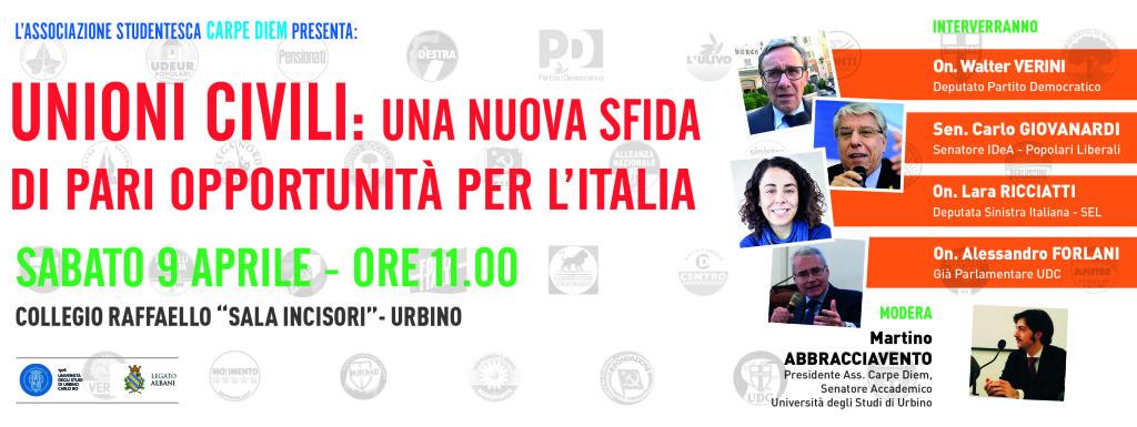 Unioni civili, una sfida per l'Italia: confronto a Urbino