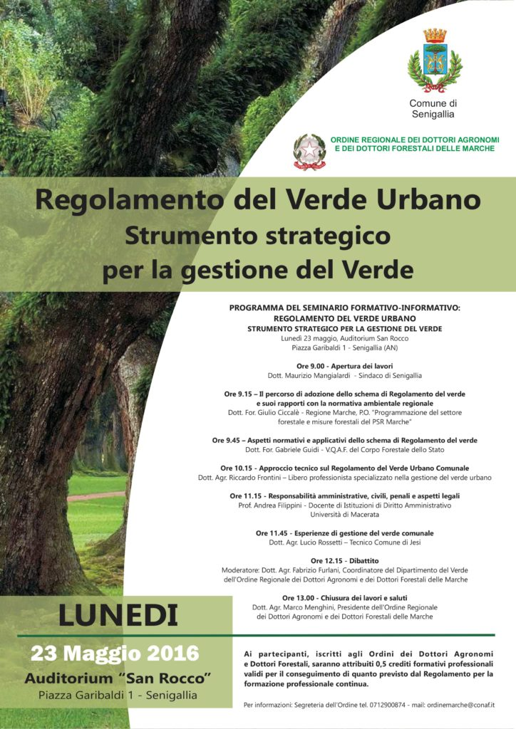 Il verde urbano al centro di un incontro a Senigallia