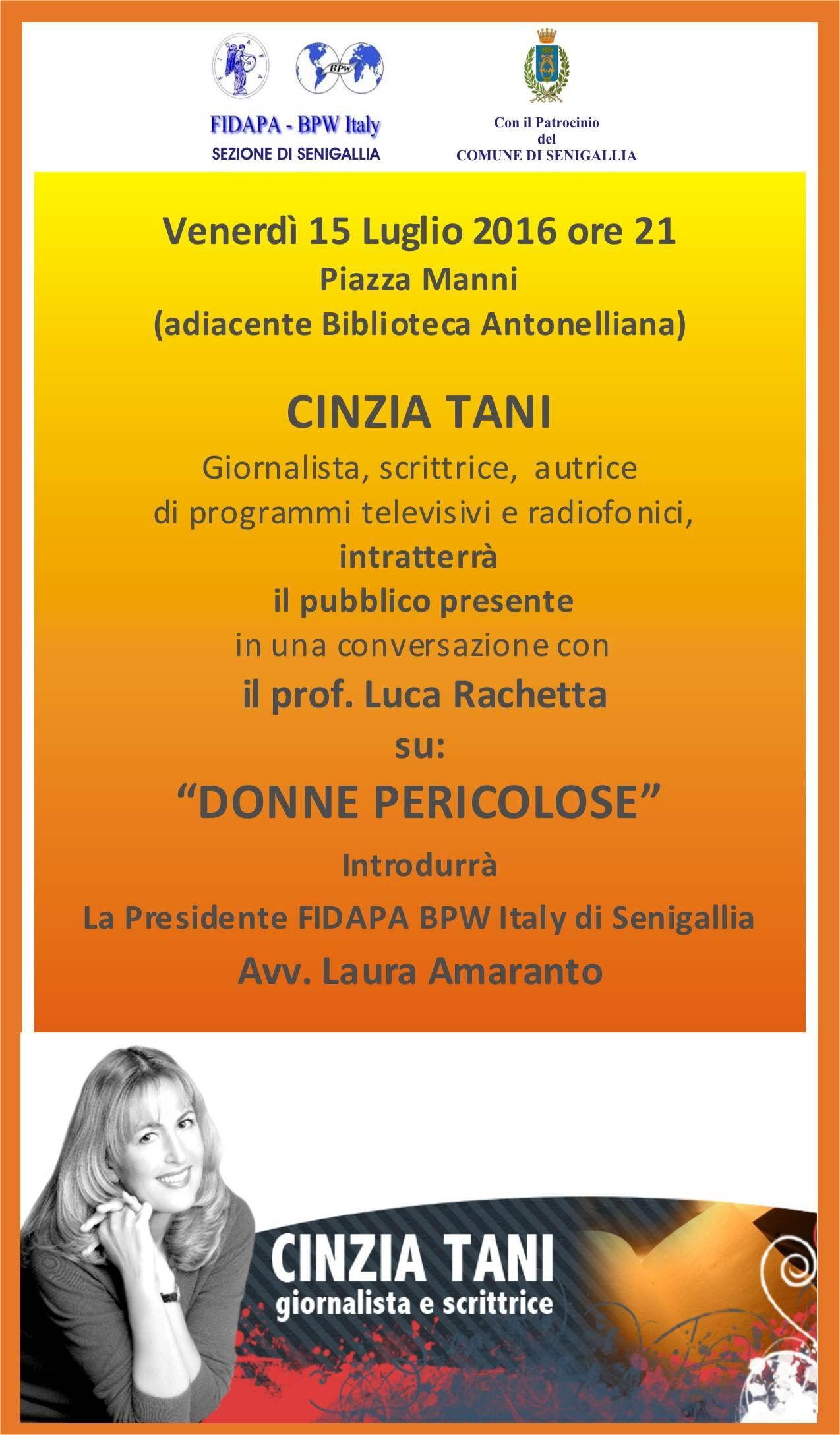 """Le """"Donne pericolose"""" della scrittrice Cinzia Tani venerdì a Senigallia"""