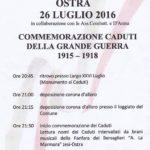 Martedì Ostra commemora i caduti della Grande Guerra