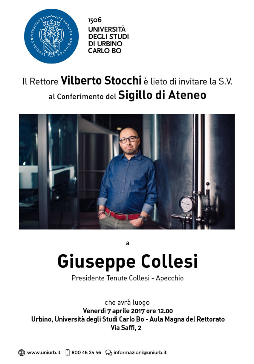 """URBINO / Giuseppe Collesi sarà insignito del """"Sigillo dell'Ateneo"""""""