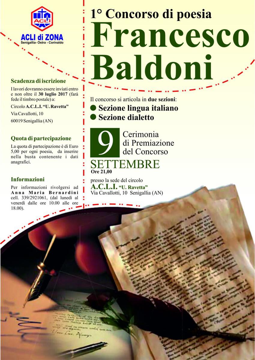 """I Circoli Acli di Senigallia, Ostra e Corinaldo organizzano il 1° Concorso di poesia """"Francesco Baldoni"""""""