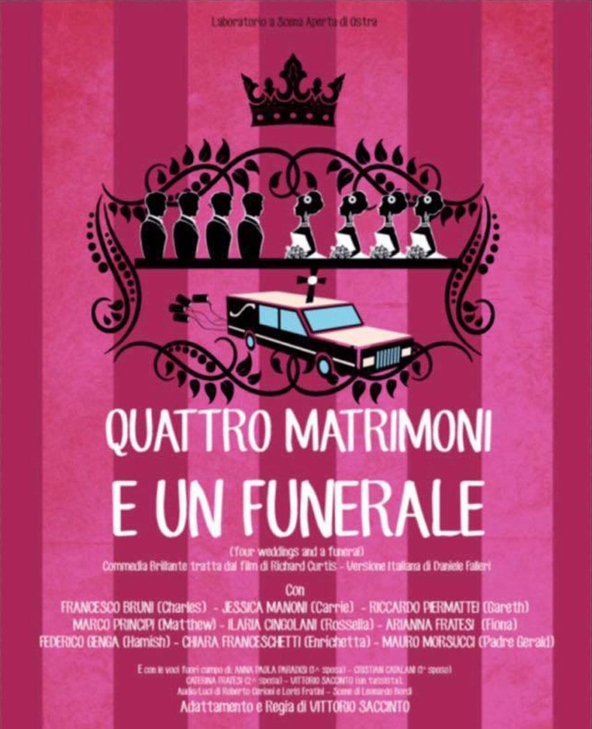 Sabato a Chiaravalle l'ultima replica della commedia Quattro matrimoni e un funerale