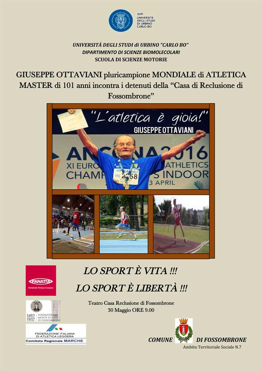 Lo sport è libertà, martedì Giuseppe Ottaviani farà visita ai detenuti del carcere di Fossombrone