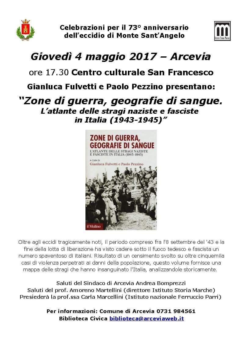 Ad Arcevia la presentazione in anteprima regionale dell'Atlante delle stragi naziste e fasciste