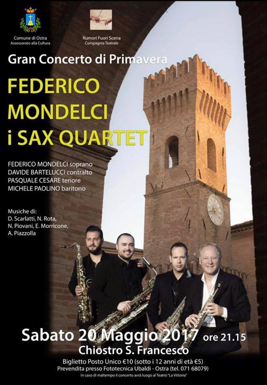 """Ostra ospita il """"Gran concerto di Primavera"""" con il Federico Mondelci i Sax Quartet"""
