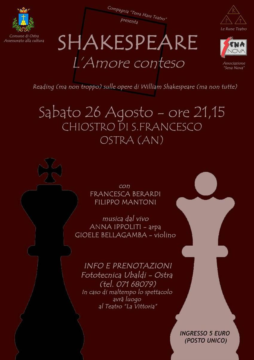 """""""Shakespeare – L'amore conteso"""" in scena sabato al Chiostro San Francesco di Ostra"""