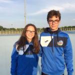 Filippo Moroni e Federica Grilli del Team Roller portabandiera alla cerimonia di apertura del Trofeo nazionale Coni