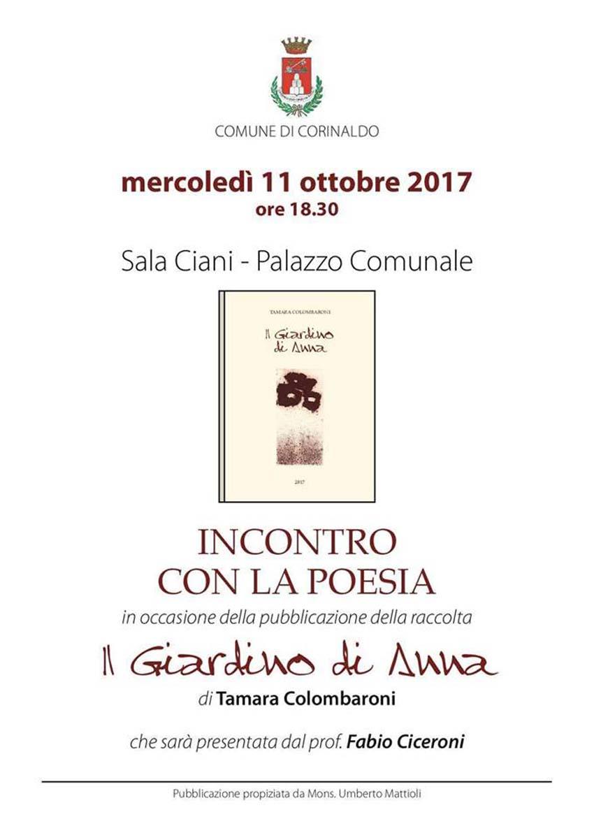 """A Corinaldo la presentazione del libro di poesie di Tamara Colombaroni """"Il Giardino di Anna"""""""