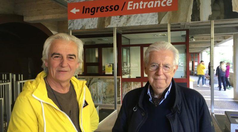 L'ex premier Mario Monti in visita alle Grotte di Frasassi